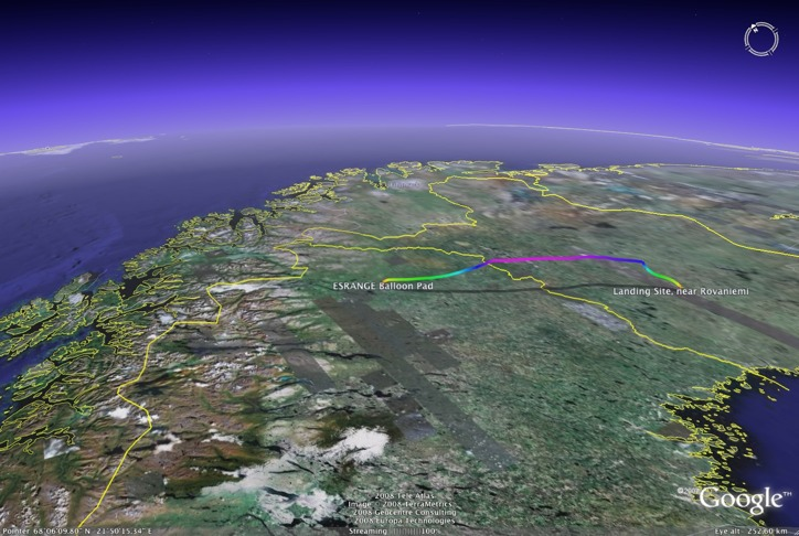 BEXUS-7 flight trajectory, color-coded altitude