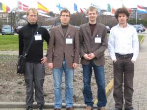 Team members Jaroslav Urbá?, Martin Rudolph, Martin Siegl and Gerrit Holl at ESTEC, Noordwijk, during the selection workshop.